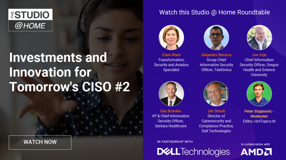 Investments and Innovation for Tomorrow's CISO 2 - The Studio @ Home poster